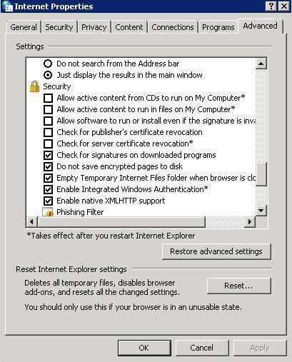 opciones avanzadas Internet Explorer